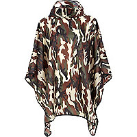 Green camo print hooded poncho