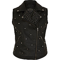 Black leather look studded biker gilet