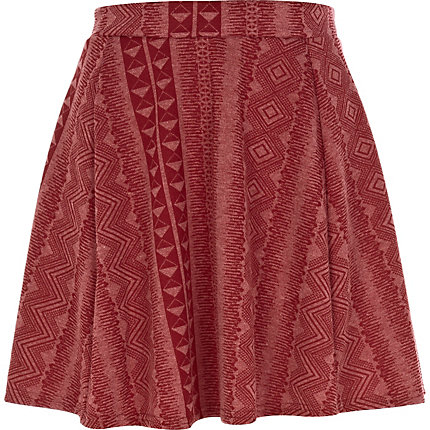 Red geometric print skater skirt