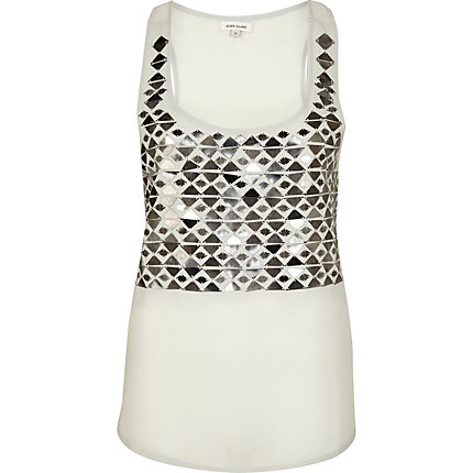 Grey mirror sequin embellished vest top