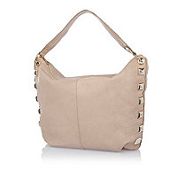 Cream leather stud side slouch handbag