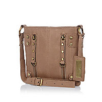 Khaki leather mini zipped messenger bag
