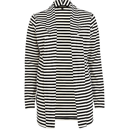 Black and white striped boyfriend blazer