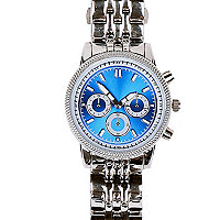 Silver tone bright face bracelet watch
