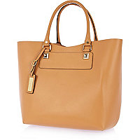 Peach stud structured leather tote bag