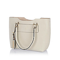 Cream leather mini structured tote bag