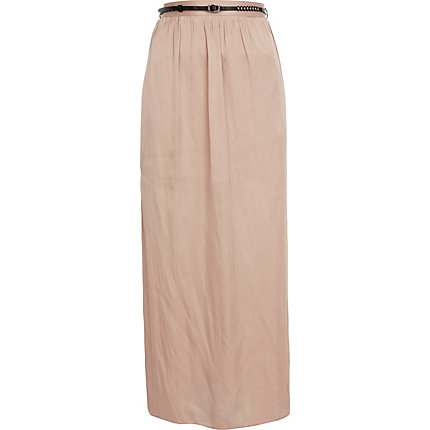 Beige side split belted maxi skirt