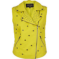 Yellow leather look studded biker gilet