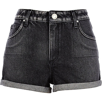 Black acid wash denim shorts