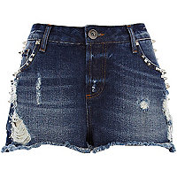 Mid wash distressed studded denim shorts