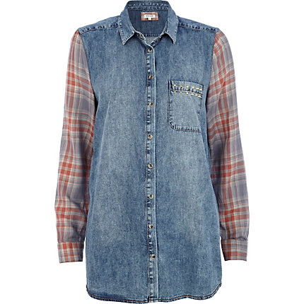 Denim contrast check sleeve boyfriend shirt