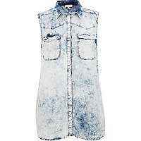 Light acid wash diamante cross back shirt