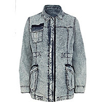 Light acid wash army jacket