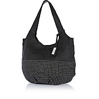 Black leather studded slouch bag