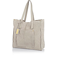 Grey suede shopper bag