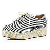 Black stripe espadrille lace up flatforms