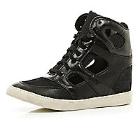 Black concealed wedge cut out high tops