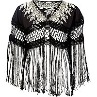 Black embroidered tassel cape