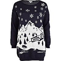 Blue Christmas ski print jumper dress