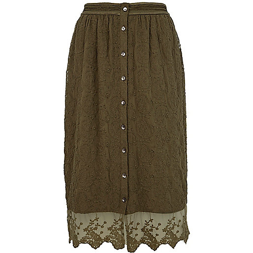 Khaki lace scallop hem midi skirt