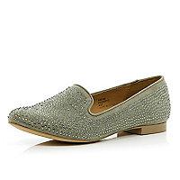 Beige gem embellished slipper shoes