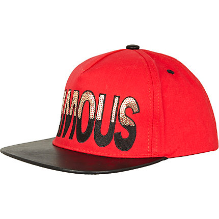 Red leather look peak famous trucker hat