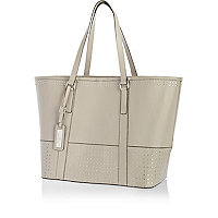 Grey leather studded panel tote bag
