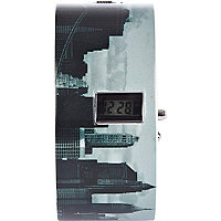 Black city scape print digital bangle watch