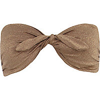 Bronze metallic twist bandeau bikini top