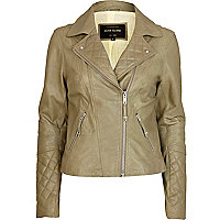 Green leather quilted biker jacket