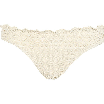Cream crochet bikini briefs