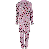 Purple strawberry print onesie