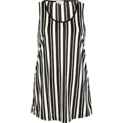 Black vertical stripe longline vest