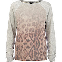 Grey gradated animal print sweatshirt