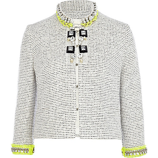 Grey boucle jewelled fluro trim jacket