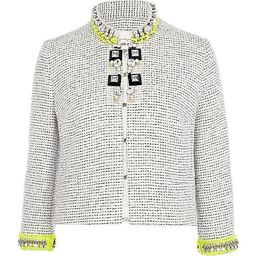 Grey boucle jewelled fluro trim jacket