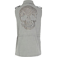 Grey diamante skull military gilet