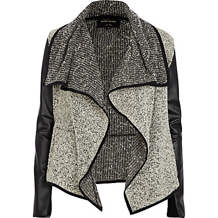 Grey boucle leather look waterfall jacket