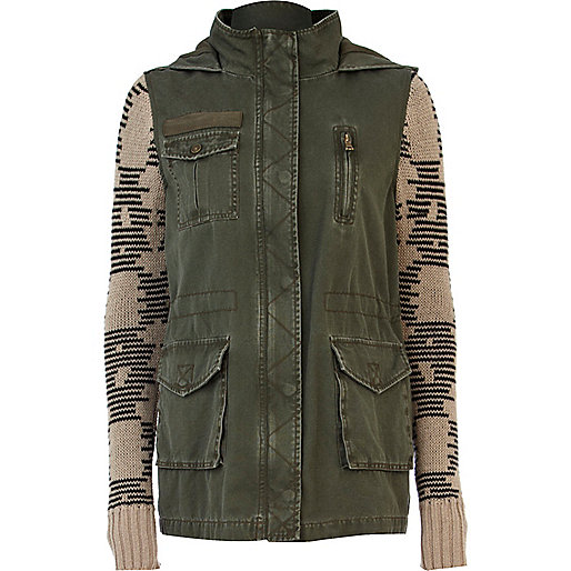 Khaki knitted sleeve army jacket