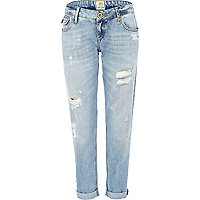 Light wash distressed Cassie boyfriend jeans