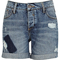 Mid wash distressed denim boyfriend shorts