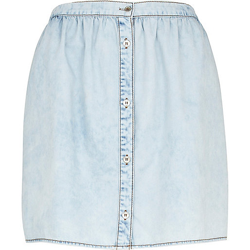 Light wash button down mini denim skirt