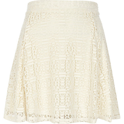 Cream burnout lace skater skirt