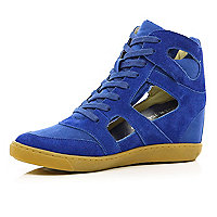 Blue concealed wedge cut out high tops