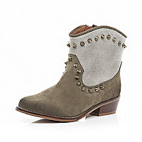 Beige contrast panel studded western boots