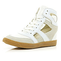 White concealed wedge cut out high tops
