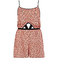 Orange ditsy print cut out playsuit