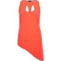 Orange asymmetric cut out vest