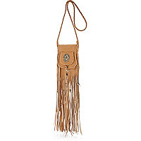 Tan western fringed cross body bag