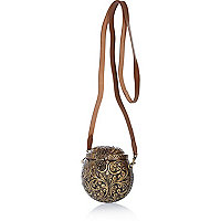 Gold tone metal round bag